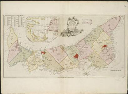 A plan of the island of St. John with the divisions of the counties, parishes, & the lots as granted by government, likewise the soundings round the coast and harbours