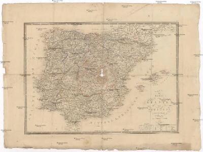 Karte von Spanien und Portugal.