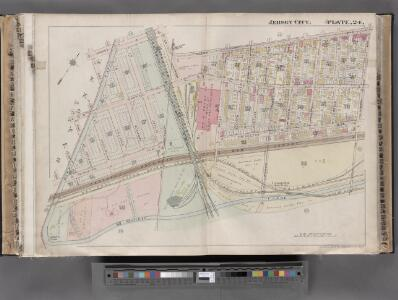 Jersey City, V. 1, Double Page Plate No. 24 [Map bounded by Ocean Ave., Linden Ave., Morris Canal, Avenue C] / compiled under the direction of and published by G.M. Hopkins Co.