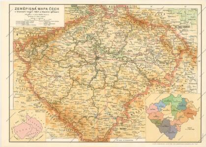 Zemepisna Mapa Cech S Hranicemi Kraju R 1654 A Hlavnimi Silnicemi