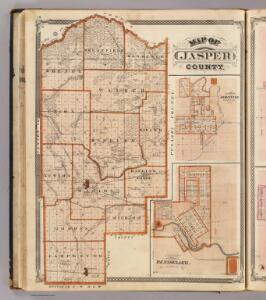 Map of Jasper County (with) Plan of Remington (and) Plan of Rensselaer.