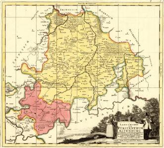 Land-Charte von Fürstenthum Altenburg wie solches in seinen Enigegräntz Bezircke gegen Unterschiedene Angräntzende situiret lieget Gestochen von