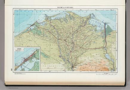 163.  Nile Delta, Suez Canal, Alexandria.  The World Atlas.