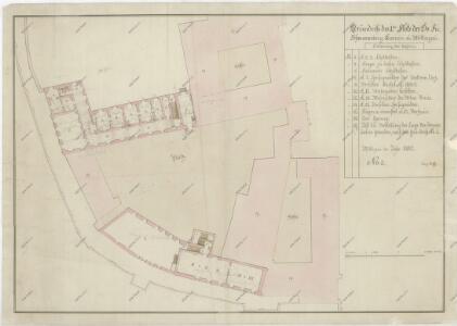 Půdorysný plán bývalého augustiniánského kláštera v Třeboni, půdorys přízemí, 1. a 2. patra, tabelární přehled 1
