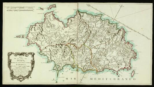 Mapa de la isla de Iviza, dividido en cinco partes, llamadas Quartones. Rducido por el que levantó el  Capitán é Ingeniero ordinario, D. Josef Garcia Martinez