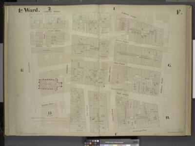[1st Ward. Plate F: Map bounded by Liberty Street,    William Street, Exchange Place, Trinity Place; Including Cedar Street, Thames    Street, Pine Street, Wall Street, Temple Street, Broadway, Nassau Street, Broad  Street]