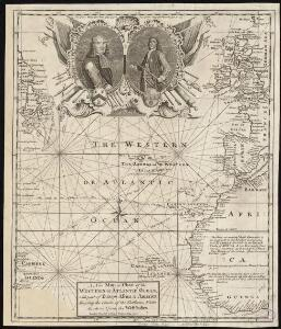 A new map or chart of the Western or Atlantic Ocean, with part of Europe Africa & America, showing the course of galleons, flota &c. to and from the West Indies