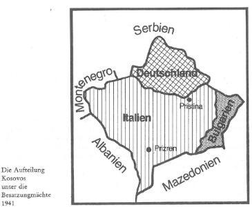 Die Aufteilung Kosovos unter die Besatzungsmächte 1941