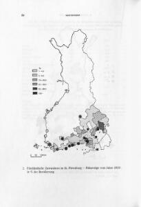 Finnländische Zuwanderer in St. Petersburg - Paßanträge vom Jahre 1820 in % der Bevölkerung