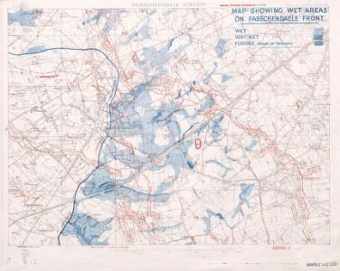 Map showing wet areas on Passchendaele Front