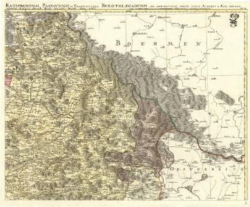 Mappa Electoratus et Ducatus Bavariae Superioris et Inferioris, Ducatus Neoburgesis cum Episcopatibus Frisingensi Ratisbonensi Passaviensi et Praepositura Bergtolsgadensi.