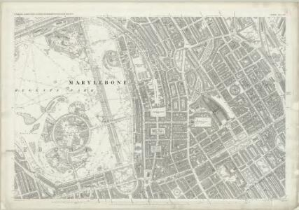 London (First Editions c1850s) XXV (includes: St Marylebone; St Pancras) - 25 Inch Map