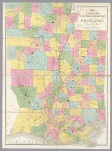 Map of Mississippi, Louisiana & Arkansas.