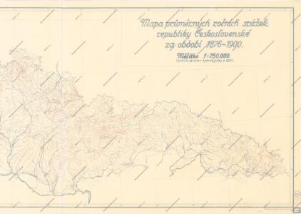 Mapa průměrných ročních srážek republiky Československé za období 1876 - 1902