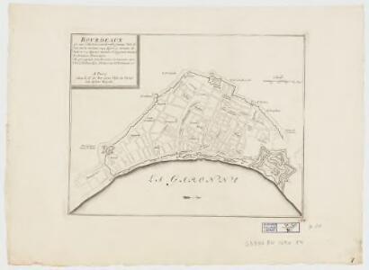Bourdeaux : est une ville tres considerable fameaux port située sur la Garonne a 44 degrez 50 minutes de latit. et a 17 degrez 7 minutes de longitude suivant le dernieres observations : elle est capitale de la province de Guienne, avec titre d'Archevechez d'Universite de Parlement &c