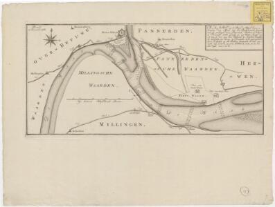 Kaart van de rivier de Waal boven en beneden den mond van het Pannerdensche Canaal, met de peilingen door Beyerinck, Bolstra en Veltgen in november 1766, gedaan op een waters-hoogte van 2Â3⁄4 tot 2Â1⁄2 voet aan de peilschaal in Arnhem; beneffens de middelen t
