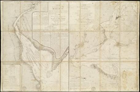 Carte de la Baye et Riviere de Délaware, contenant une éxacte et entiére description des rivages, criques, havres, sondes, bas-sonds, sables et gissements des marques ...