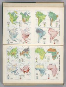 North America, South America, Asia, and Africa showing Minerals and Agriculture (Crops).