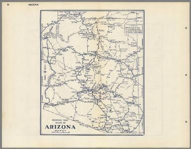 Highway Map State of Arizona.