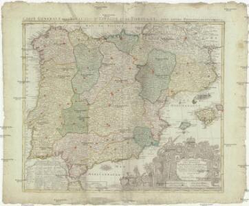 Carte generale des royaumes d'Espagne & de Portugal, avec leurs principales divisions &c