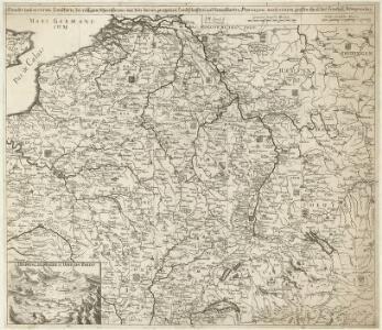 Neueste und aceurate Landkarte des volligen-Rheinstroms mit den daran gelegenen Landschafften und benachbarten Provinzien, auch einem grossen theil des Franzos: Konigreiches