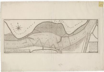 Kaart van de Oude Maas, omtrent de Lint en Krabbe, met eenige dieptens en concept kribbens, zoo als die met de letters A.B en C, zyn afgetekend, benevens de coers en strekking des vaar waters, zoo van Rotterdam op de Krabbe, als van de Krabbe op Dordrecht