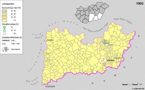A szlovákok településterülete a szomszédsági mutató alapján Dél-Alföldön 1980-ban