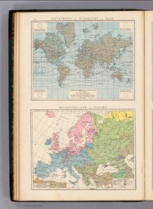 Isothermen- u. Windkarte; Religionskarte v. Europa.