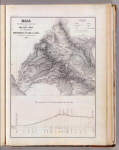Mapa, exploracion de cuatro vias entre Lima, Juaja y Pasco.