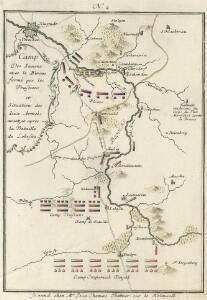 Camp Des Saxons avec le Blocus formè par les Prussiens et Situation des deux Armeès avant, et apres la Battaile de Lobositz.