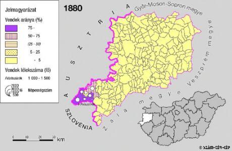 A szlovének arány és száma Vas megyében 1880-ban