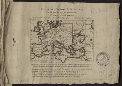 Théatre de la guerre actuelle, en Allemagne, en Pologne et en Turquie. Carte de l'Europe méridionale en 53 feuilles qui se réunissent. Tableau d'assemblage indiquant la disposition de ces feuilles, pour en faciliter la réunion