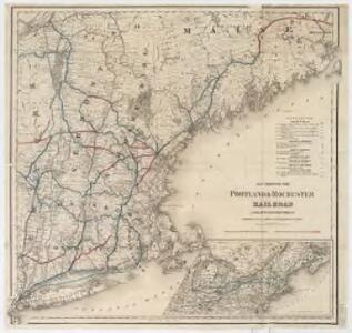 Map showing the Portland & Rochester railroad and its connections