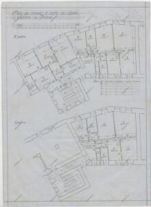 Plán na zřízení 6 bytů ze sýpek v klášteře v Třeboni (půdorys 1. a 2. poschodí) 1