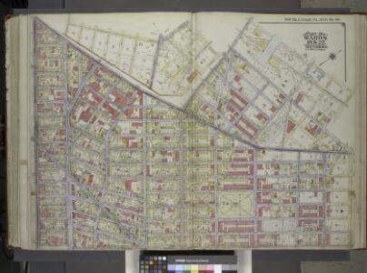 Brooklyn, Vol. 1, 2nd Part, Double Page Plate No. 38; Part of Wards 18 & 27, Section 10-11; [Map bounded by Flushing Ave., Morgan Ave., Meserole St., Gardner Ave.; Including Johnson Ave., Cypress Ave., De Kalb Ave., Broadway]; Sub Plan [Map bounded by...