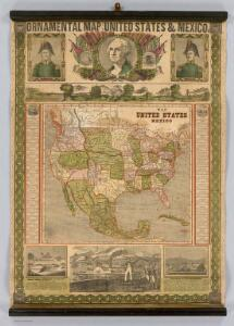 Ornamental Map Of The United States & Mexico.