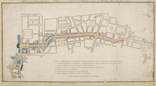 Plan, presented to the House of Commons, of a street proposed from Charing Cross to Portland Place, leading to the Crown Estate in Mary-le-Bone Park.