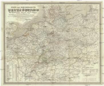 Post- und Reisekarte von Deutschland, den Niederlanden, Belgien und der Schweiz
