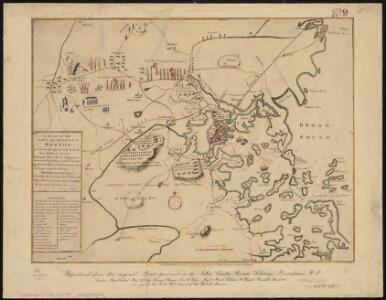 A plan of the town and harbour of Boston, and the country adjacent with the road from Boston to Concord shewing the place of the late engagement between the King's troops & the provincials ...