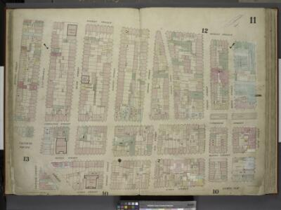 [Plate 11: Map bounded by Market Street, South        Street, James Slip, James Street, Chatham Street, Chatham Square, Division       Street; Including Catherine Street, Oliver Street, East Broadway, Bowery, Henry  Street, Madison Street, Monroe Stre