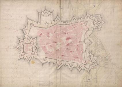 A colored plan of the town and citadel of Cambray;