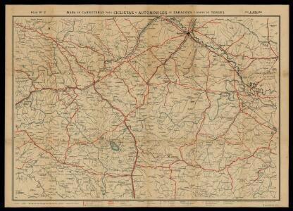 Mapa de carreteras para ciclistas y automóviles de Zaragoza y norte de Teruel / por E. Brossa