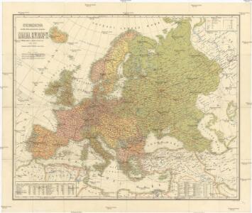 Storchova nejnovější politická, cestovní, železniční a paroplavební mapa Evropy