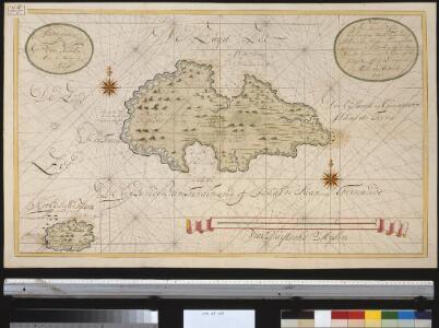 Nieuwe afteekening van de eijlanden van Ferdinand of Ilhas de Juan Fernando geleegen in de Zuijt Zee op de breete van 34 graden 15 minuten op de kust van Chili 80 Duijtsche mijlen van de wal