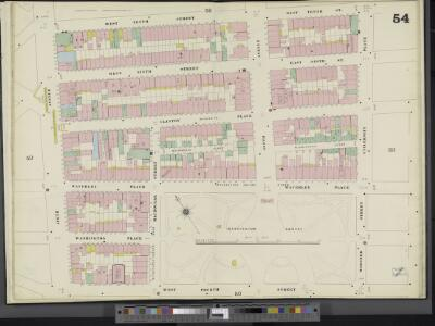 Manhattan, Double Page Plate No. 54 [Map bounded by E. 10th St., Wooster St., University Pl., W. 4th St., 6th Ave., W. 10th St.]