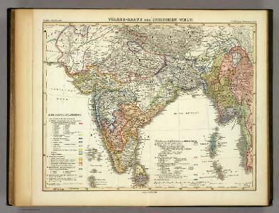 Volker-Karte der Indischen Welt.