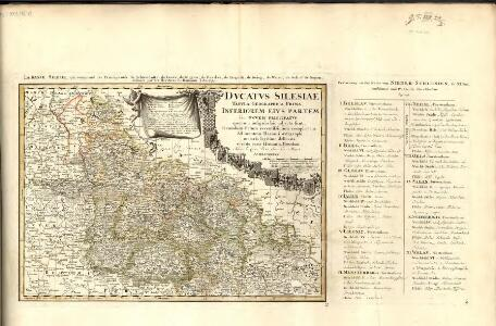 Dvcatvs Silesiae Tabvla Geographica Prima, Inferiorem eivs partem, seu novem principatvs, quorum insignia hic adjecta sunt, secundum statum recentissimum complectens =
